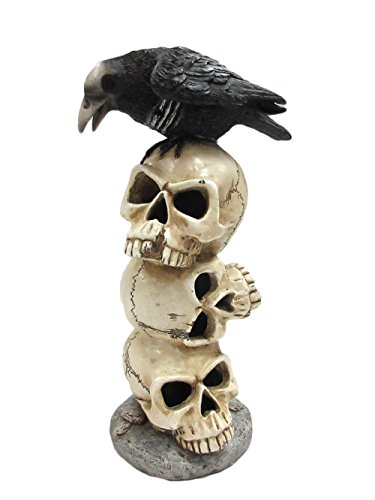 Pacific Giftware Raven Sitting on Top of LED Lighted Skulls Halloween Decoration Collectible Figurine