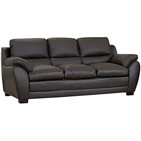 Abbyson Graham Leather Sofa Dark Brown