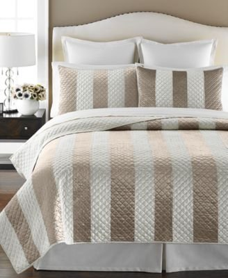 Martha Stewart Collection Siena Stripe King Bedspread Quilt Taupe Cream