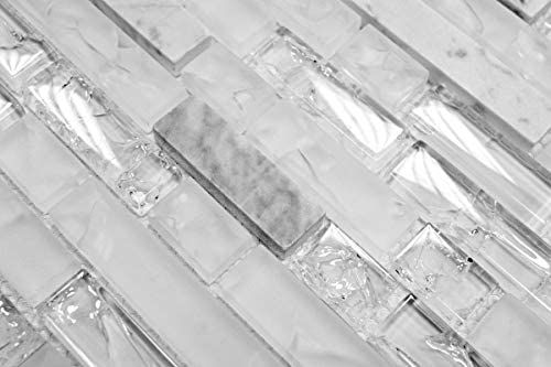 Mosaikfliese Transluzent wei/ß Verbund Glasmosaik Crystal Stein wei/ß MOS87-V1311/_m