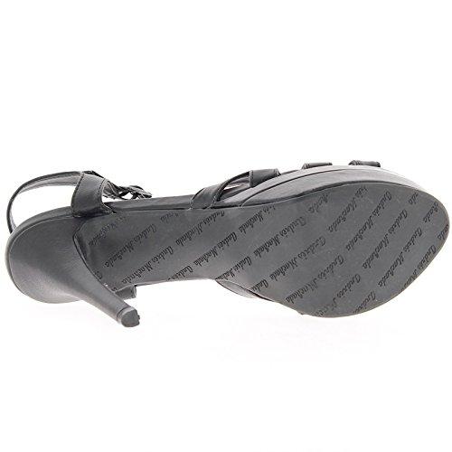 Negro tamaño sandalias a 14,5 cm de tacón de plataforma de 4,5 cm