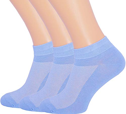 Blue Sock Light - 3 Pack Unisex Ultra Thin Breathable Dry Fit Low Cut Running Ankle Socks color Light Blue, Shoe Sizes 6-12 US/Socks Sizes 10-13