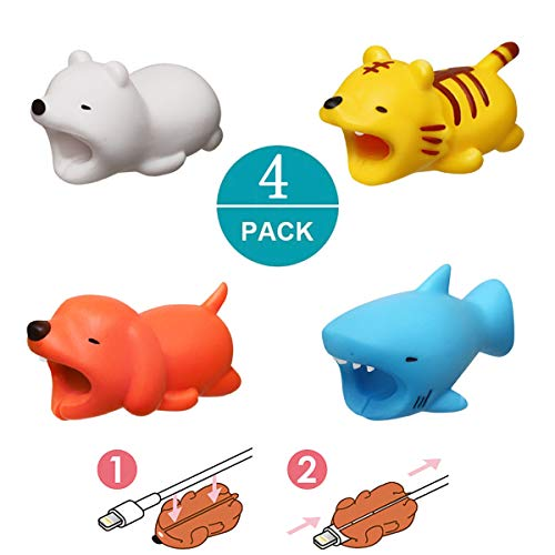Newseego Compatible iPhone Cable Protector Charger Saver Cable Chewers Cable Cute Animal Bite Cable Accessory-4 Pack