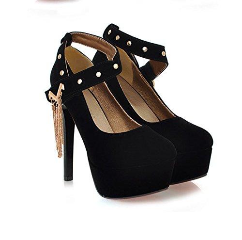 Mujer de Novias Zapatos Tacón Zapatos Zapatos de Sandalette Boda de Solo Damas Casual de de DEDE Zapatos de los Mujer black Tacón Honor Alto Alto qPUtR