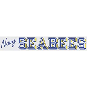 """NAVY SEABEES 13"""" inch Window Strip NAVY Outside Decal"""