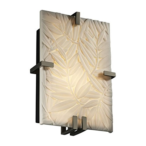 - Justice Design Group PNA-5551-BMBO-NCKL Porcelina Collection ADA Clips Rectangle Wall Sconce