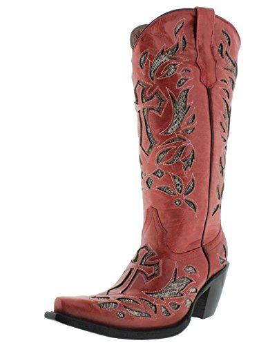 Cowboy Professionnel Femmes Python Rouge Croix Incrustation Cuir Bottes De Cowboy Rouge