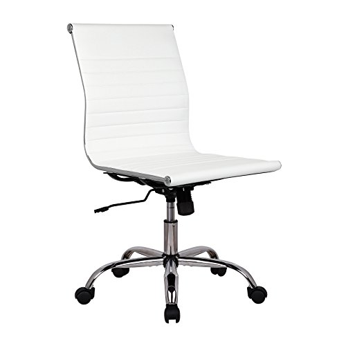 Porthos Home EFC019A WHT Karina Task Chair with Adjustable Height, 360° Swivel, Roller Caster Wheels and PU Leather Upholstery (Armless Design, for Home Studios and Small Offices), One Size, White