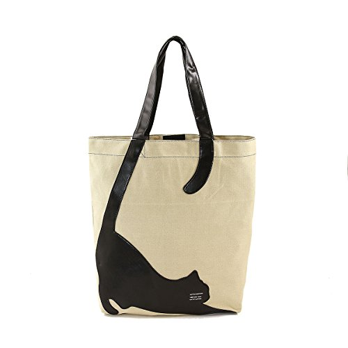 Stretching Cat Silhouette On Canvas Tote Bag