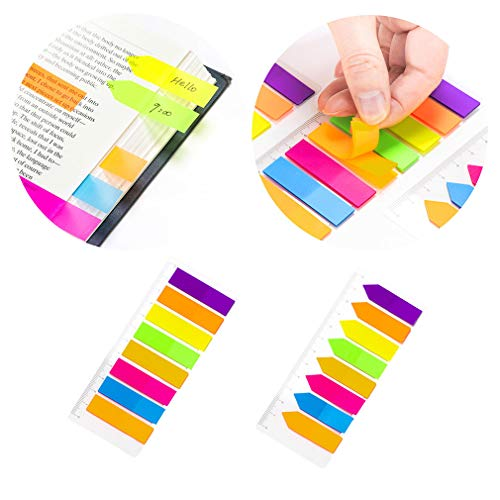 PrettyFNT 2 Sets Neon Page Markers Colored Index Tabs, 8 Colors Sticky Flag Notes, Fluorescent Sticky Note for Page Marker, Total 320pcs (2)