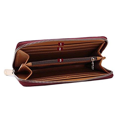 Hinweis clip Reißverschluss Tasche Damen Geldbörse thin Plaid, Deep Purple Perlit schwarz