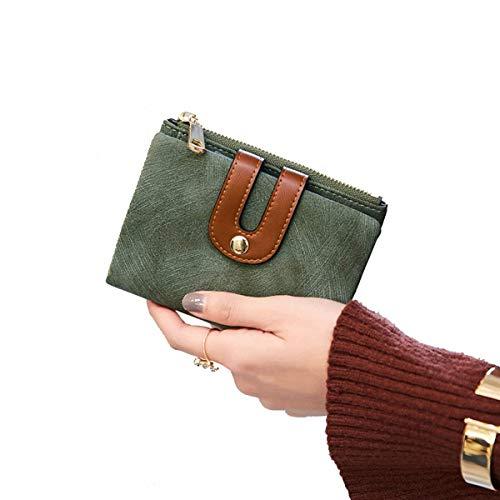 Women's Small Wallet Bifold Soft Leather Thin Short Wallets RFID Blocking Ladies Mini Purse with ID Window (Green) (Wallet Fold Bi Short)