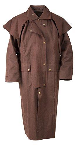 BROWN FULL LENGTH MEN WOMEN AUSTRALIAN HUNTING OILSKIN CLOTH DUSTER COAT JACKET - Australian Oilskin