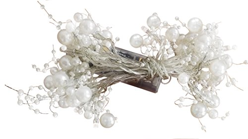 Hzenya Fairy Light Pearl Beaded Garland,20 Warm White LEDs, 7.6 feet,Battery Operated, Wedding Celebrate, Holiday Lighting, Christmas Lighting, Home Deco, Christmas Tree Deco, (Pearl)