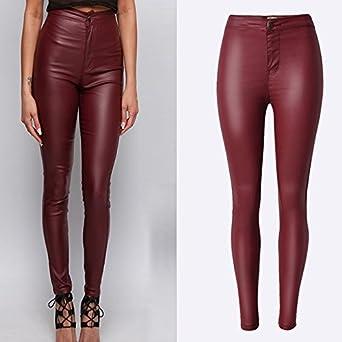 cfaf8cf77bf92 BlingNicer Cozy;Fashion Biker Faux Leather Pants Women New High ...