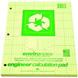 Roaring Spring Recycled Engineering Pad, 8.5 x 11 Inches, Green, 150 Sheets
