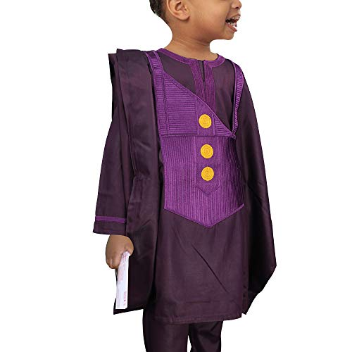 HD Kids African Clothing Embroidery Agbada Top Dashiki Shirt and Pants Set 3 Pieces for Boy,Purple L