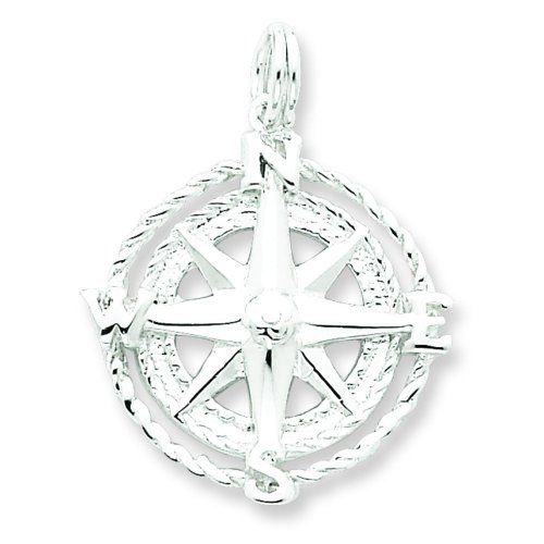 Sterling Silver Compass Rose Charm Pendant (Rose Charm Pendant)