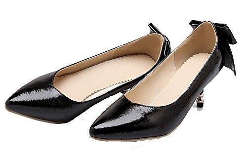 Pointu Pu Chaussures Noir Unie Couleur Légeres Agoolar Tire Femme Gmbdb011985 Cuir YTx5g1