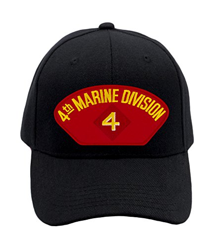 Patchtown USMC - 4th Marine Division Hat/Ballcap Adjustable One Size Fits Most (Division Hat Marine)
