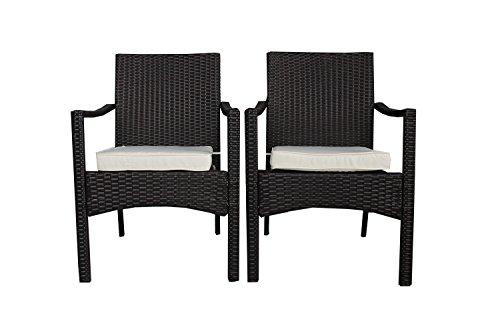 attan Set of 2 Chairs Couch Conversation Set Outdoor Wicker Furniture Garden Indoor Bistro Set ()