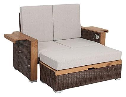 Greemotion Rattan Lounge Bahia Lanzarote Sofa Bett Aus Polyrattan Akazienholz 2er Garten Sofa Mit Stahl Gestell Daybed Zweigeteilt Braun