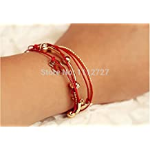 Dancing Zone Small Lovely Bracelets Leather Cord Multilayer Chain Charm Anklet All-Match Female Bracelets Jewelry Ornament Accessories