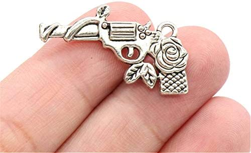 Deluxe Gun Charm Collection Antique Silver Tone Bullet Charm 14 to Choose From