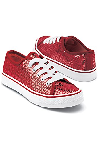 Balera Sequin Low Top Dance Sneakers Red 8AM