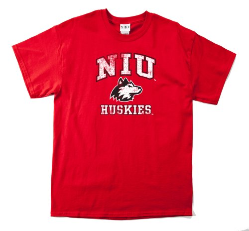 NCAA Northern Illinois Huskies 100-Percent Pre-Shrunk Vintage Mascot Short Sleeve Tee, Medium, Red