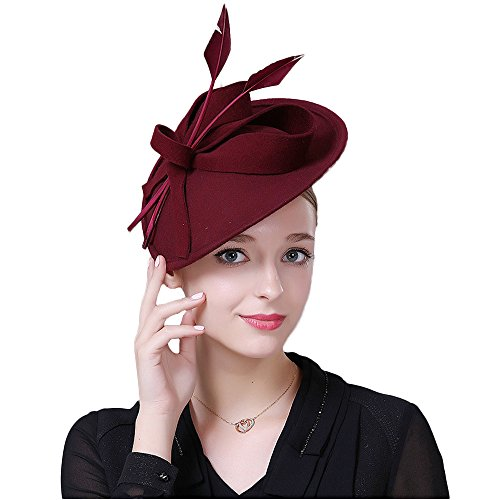F FADVES Vintage Womens Dress Fascinator Wool Pillbox Hat Formal Church Wedding Tilt Hat Red ()