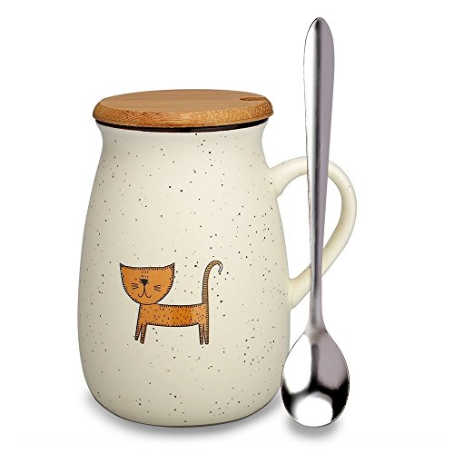 Doublewhale Funny Cat Mug, Cat Coffee Cup for Mom Cat Lovers Cat Memes Gift Tea Cups with Wooden Lid and Spoon Novelty Presents for Women Girlfriends