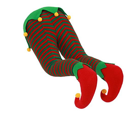 Christmas Santa, Elf, or Rudolph Hanging Legs for Fireplace or Christmas Tree (Elf) ()