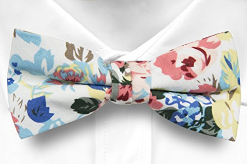 on Self Bow Men's tie yellow blue Pink Notch leaves white flowers Cotton amp; amp; Tie B4Oqx4Fn