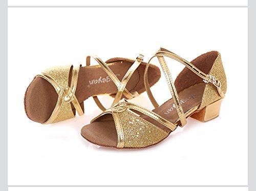 Abby 618 Femmes Élégant À La Mode Esprit Respirant Loisirs Peep Toe Talon Bas Chaussures De Danse Latine Doré