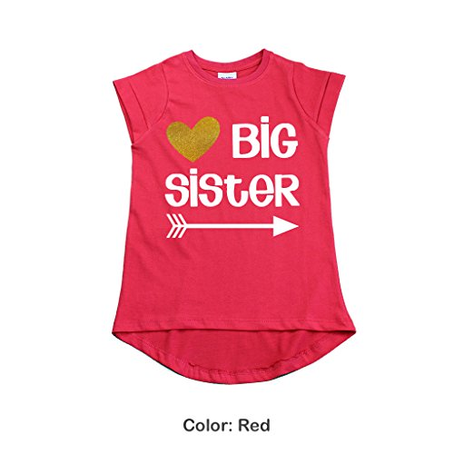 Big Sister Shirt Outfit Pregnancy Reveal Announcement Promoted to Sister t-Shirt (12m, Red)