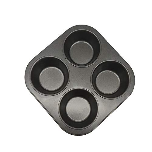 LISAY Muffin Cake Pan, 4-Cup Carbon Steel Non-Stick Muffin Tin Bakeware for Oven Baking (Black)