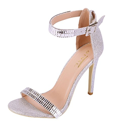 Glaze Women's Stiletto Jewel Plated High Heel Ankle Strap Dress Sandals - Open Toe Strappy Heels, Silver, Size 9