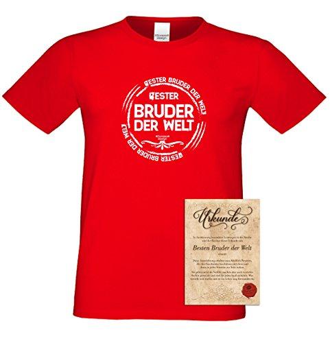 Bruder Geschenkeset Fun-T-shirt zu Weihnachten oder zum Geburtstag mit GRATIS Urkunde - Bester Bruder der Welt Farbe: rot Gr: XXL