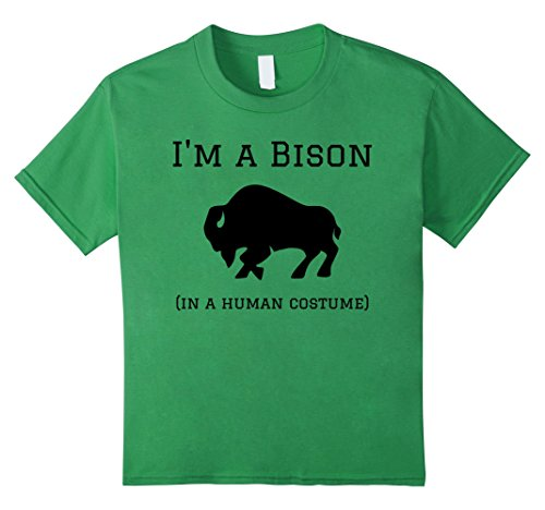 Kids I'm a Bison in a Human Costume Funny T-Shirt 10 (M Bison Halloween Costume)