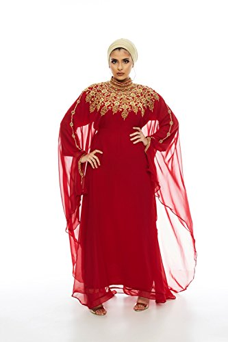 Athena Kaftan for Women -Long Sleeve Maxi Dress, Gown Formal Lounge Wear (Red) - Red Kaftan