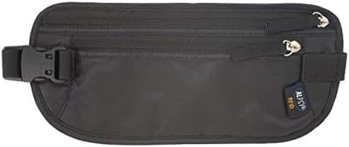 ALPSY Money Belt RFID Blocking Travel Wallet Passport Holder Waist Pouch, Black