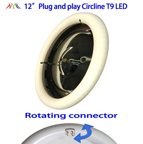 """NYLL - 12 inch Plug & Play Circle LED - Cool White/ 4200K Circline T9 LED Directly relamp and Replace The 32 watts 12"""" Fluorescent FC12T9 Bulb (Without rewiring or Modification)"""
