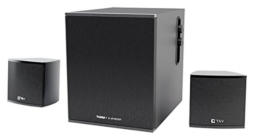 Thonet And Vander Kind 125 Watt Wood Multimedia Audio Speaker System  2 1 Stereo Speakers With Integrated Amplifier And Dual Rca Stereo Inputs  Black  Certified Refurbished