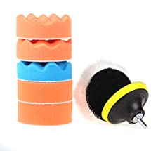 """ZFE 7 Pcs 3"""" Buffing Pad Auto Car Polishing Wheel Kit Buffer + Drill Adapter For Electric Drill"""
