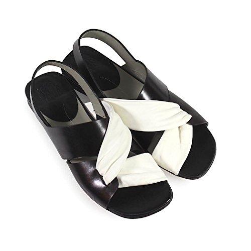 Blanc Chaussures Ixos 2018 Sandale été noir Plat Cuir Femme Printemps X6xqfOx