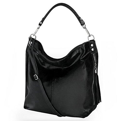 Black bolso hombro de bolso mujer Italy fashion cuero 2106 Mod de formel Shopper Uqxnwwa7