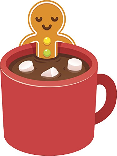 Gingerbread Man in Hot Cocoa Jacuzzi Mug Cartoon Vinyl Decal Sticker (4