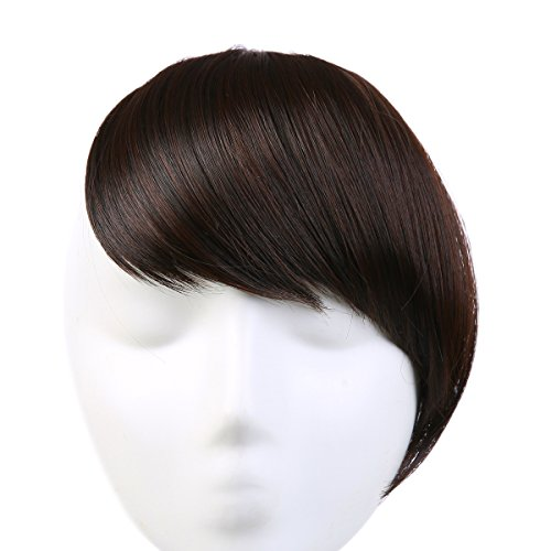 SARLA Synthetic Hairpieces False Bangs Clip-In Bangs Side Swept Bangs Extension B2 (2/33 Dark Chocolate) (Side Chocolate)