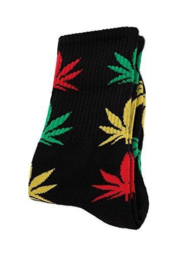 Rasta calcetines de Cannabis Leafs de hierbajos con hoja de marihuana de hojas de Unisex